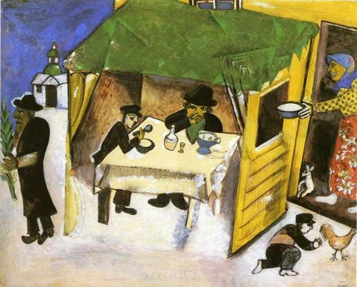 Chagall the feast at the tablenacle  sukkor 1916